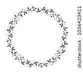 vector hand drawn floral wreath ... | Shutterstock .eps vector #1036423411
