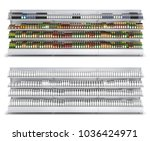 open shelf with colored and... | Shutterstock . vector #1036424971