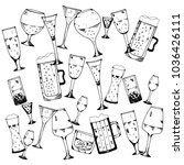 hand drawn sketch style drinks. ... | Shutterstock .eps vector #1036426111