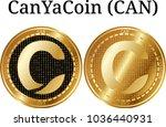 set of physical golden coin... | Shutterstock .eps vector #1036440931