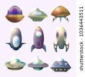 set of isolated alien... | Shutterstock .eps vector #1036443511