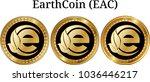 set of physical golden coin... | Shutterstock .eps vector #1036446217