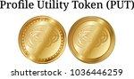 set of physical golden coin...   Shutterstock .eps vector #1036446259