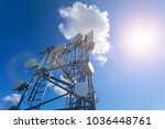 telecommunication tower with tv ... | Shutterstock . vector #1036448761