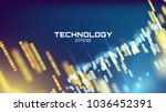 tech background. neon glow grid ... | Shutterstock .eps vector #1036452391