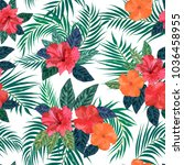 floral seamless pattern.... | Shutterstock .eps vector #1036458955