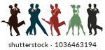 silhouettes of five couples... | Shutterstock .eps vector #1036463194