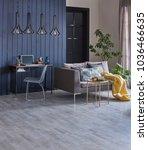 dark blue wood wall grey living ... | Shutterstock . vector #1036466635
