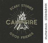 camping t shirt design. hand... | Shutterstock . vector #1036468444