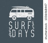 vintage surfing graphics and... | Shutterstock . vector #1036468447