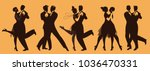 silhouettes of five couples... | Shutterstock .eps vector #1036470331
