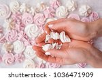 white and pink meringues | Shutterstock . vector #1036471909