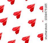 rad flat paper plane seamless... | Shutterstock .eps vector #1036475185