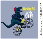dinosaur  bicycle vector... | Shutterstock .eps vector #1036482157