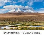 andes mountain chain with snow...   Shutterstock . vector #1036484581