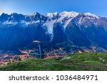 chamonix valley in the morning. ... | Shutterstock . vector #1036484971