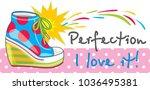 female bright trendy sneakers.... | Shutterstock .eps vector #1036495381