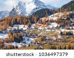 mountainous landscape with... | Shutterstock . vector #1036497379