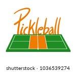 pickleball courtl illustration | Shutterstock .eps vector #1036539274