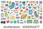 patch badges set. doodle sketch ... | Shutterstock .eps vector #1036541677