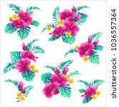 hibiscus flower pattern    | Shutterstock .eps vector #1036557364