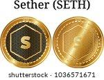 set of physical golden coin... | Shutterstock .eps vector #1036571671