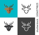 deer icons 2018   Shutterstock .eps vector #1036579825