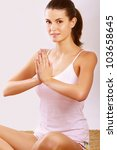 young lady practising yoga .... | Shutterstock . vector #103658645