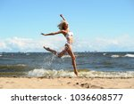 beautiful blonde in a swimsuit... | Shutterstock . vector #1036608577