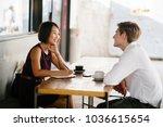 an asian woman is interviewing... | Shutterstock . vector #1036615654