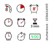 a set of clock icons. vector... | Shutterstock .eps vector #1036616545