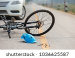 accident car crash with bicycle ... | Shutterstock . vector #1036625587