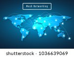 world map mesh network... | Shutterstock .eps vector #1036639069