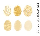 set of gold easter eggs. vector | Shutterstock .eps vector #1036659484