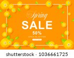 spring sale poster with flower... | Shutterstock .eps vector #1036661725
