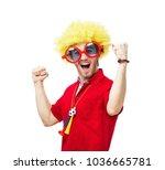 football fan isolated on white   Shutterstock . vector #1036665781