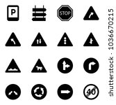 solid vector icon set   parking ... | Shutterstock .eps vector #1036670215