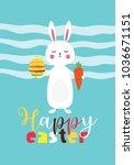 easter gift card in flat design.... | Shutterstock .eps vector #1036671151