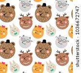 children's seamless pattern in... | Shutterstock .eps vector #1036672747