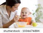 mom giving homogenized food to... | Shutterstock . vector #1036676884