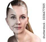 woman's face before and after... | Shutterstock . vector #1036677505