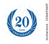 20 years anniversary. elegant... | Shutterstock .eps vector #1036693609