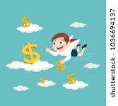 flying businesswoman pick...   Shutterstock .eps vector #1036694137