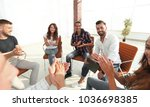 business team applauding their... | Shutterstock . vector #1036698385