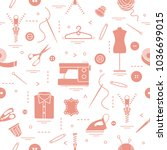 seamless pattern with tools and ... | Shutterstock .eps vector #1036699015
