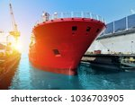 tanker ship  big ship during... | Shutterstock . vector #1036703905