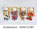 traditional belgian waffles...   Shutterstock . vector #1036711387