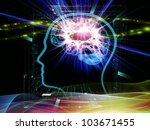 Composition of head outlines, lights and abstract design elements suitable as a backdrop for the projects on intelligence,  consciousness, logical thinking, mental processes and brain power - stock photo