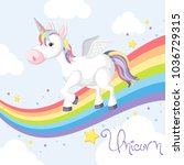 cute unicorn standing on... | Shutterstock .eps vector #1036729315