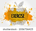 exercise apple word cloud ... | Shutterstock . vector #1036736425